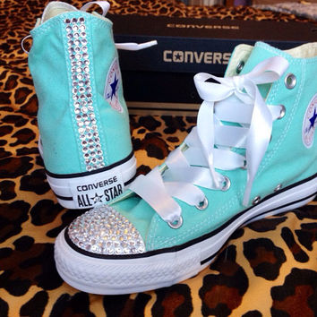 Rhinestone High Top Converse with Ribbon Laces