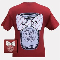 New Alabama Crimson Tide Mason Jar Big Bow Bright T Shirt