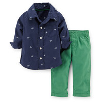 2-Piece Poplin Top & Canvas Pant Set