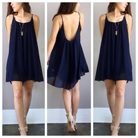 A Little Navy Flow Dress
