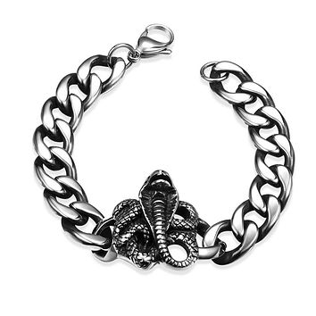 King Cobra Emblem Stainless Steel Curb Chain