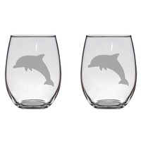 Dolphin Engraved Glasses, Ocean, Dolphins, Sea, Gift  Free Personalization