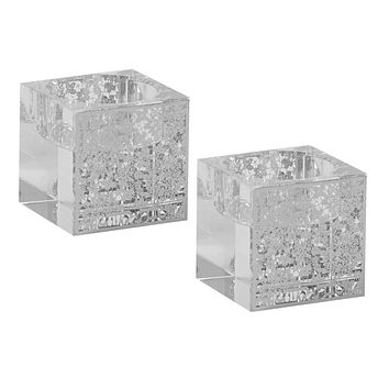 """Tea Light Candle Holder With Silver Floral 2X2"""""""