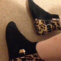Leopard real suede leather zip boots from birdyabirdy