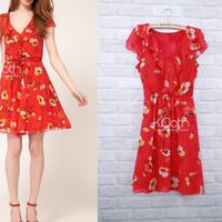 KCLOTH Midi Dress With Ruffle Detailed Floral Printed D1334