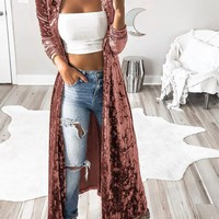 Pink Plain Turndown Collar Long Sleeve Fashion Velvet Trench Coat