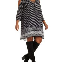 Plus Size Cold Shoulder Paisley Lace-Up Dress