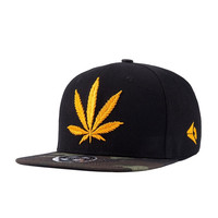 Fashion Golden Weed With Yellow Baseball Snapback Hats Caps For Men Women Hip Ho