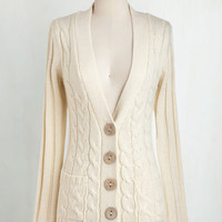 Mid-length Long Sleeve Your Fireside of the Story Cardigan in Cream