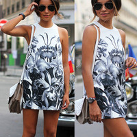 Women's Trending Popular Fashion 2016 Summer Floral Printed Floral Printed Everyday Wear Round Necked Sleeveless Casual Party Playsuit Bodycon Boho Dress  _ 3731