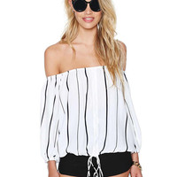 Black and White Chiffon Striped Off Shoulder Long Sleeve Ruffled Top