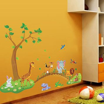 Cartoon Animals Wall Sticker for Kids Room Nursery Forest Room Decor Tree Nursery Adhesive Lovely Colorful Jungle Wall Stickers