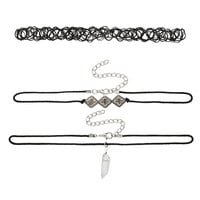 set of 3 choker necklaces with stone