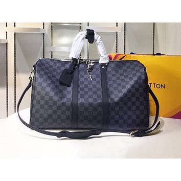 LV Fashion Sell Male and Female Printed Large Luggage Bags Black checker High-quality