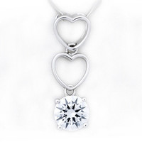 Mosaic Crystal Zirconium Diamond Sterling Silver Couples Necklace