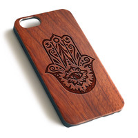 Hamsa hand Don't Trust Anyone Natural wood precise laser engraved iPhone case WA122