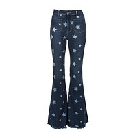 Denim Star Print Bell Bottom Jeans