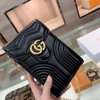 GUCCI GG double G wave pattern mobile phone bag