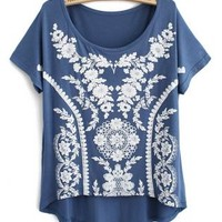 Sweet Vintage Lace Print Modal Short T-shirt For Her