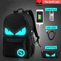 School Backpack New Children  Student Luminous Animation School Bags For Boys USB Charge Computer Anti-theft Laptop Backpack AT_48_3