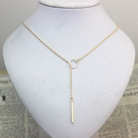 SALE Star Jewelry 1pc New Hot Unique Charming Gold Tone Bar Circle Lariat Necklace Womens Chain Jewelry Gift Cheap Drop Free