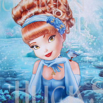 Cinderella, Disney, Princess, Blue, Bird, Painting, magic, big eye art, pretty, stretched canvas, low brow art. once upon a time, fairy tale