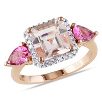 1/7 CT  Diamond TW And 2 4/5 CT TGW Morganite Pink Tourmaline Fashion Ring  10k Pink Gold GH I2;I3