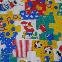Vintage Novelty Fabric - Large Puzzle Pieces in Primary Colors - 2 YARDS