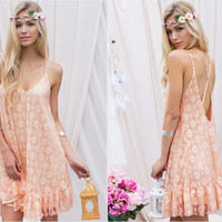 Sexy lace halter strap dress
