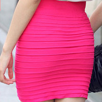 Striped Pleated Pencil Mini Skirt
