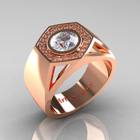 Gentlemens Modern 14K Rose Gold 1.0 Carat Moissanite Diamond Celebrity Engagement Ring MR161-14KRGDM