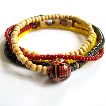 Beaded Stretch Layering Bracelet  - Womens Elastic Wrap Bracelet in Natural Wood, Shell, Yellow and Brick Red