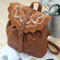 Flower Embroidery Backpack