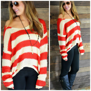 Fashionably Late Red Striped Knit Sweater