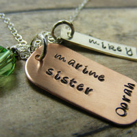 Proud Marine Sister-millitary necklace-Marines-personalized-handstamped necklace