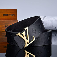 LV Louis Vuitton embossed letters stitching color men's and women's belt Black