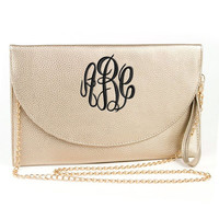 NEW!!! Monogram Gold Clutch Purse  Font shown MASTER CIRCLE in black