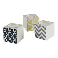 Set Of 3 Chevron Print Candle Holders