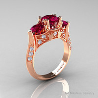 14K Rose Gold Three Stone Raspberry Red Garnet Diamond Solitaire Wedding Ring Y230-14KRGDRRG