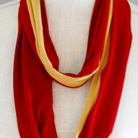 Gryffindor Inspired Soft Jersey Infinity Scarf, Red and Gold Stretch Jersey Skinny Infinity Scarf, Hogwarts Scarf
