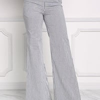 Black and White Pinstripe Wide Legged Pants