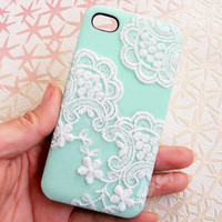 Handmade  Lace  Candy Color Case For iPhone5