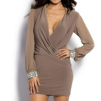 Bijou Beige Wrap Front Long Sleeve Cocktail Dress with Jewel Cuffs