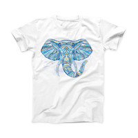 The Geometric Sacred Elephant Small ink-Fuzed Front Spot Graphic Unisex Soft-Fitted Tee Shirt