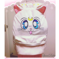 Super Cute Sailor Moon White Kitten Artemis Upgrade Backpack Free Shipping SP140506