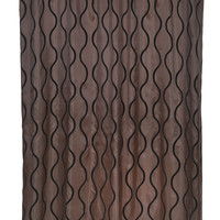 """Royal Bath Squiggly Lines Geneva Fabric Shower Curtain with Poly Taffeta Flocking in Black/Brown Size: 70"""" x 72"""""""