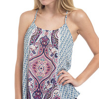 Whimsical Paisley Printed Strappy Tank Top