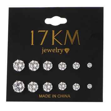 17KM Fashion 6 Pair/ set Punk Accessories Crystal Stud Earrings Set For Women Ro