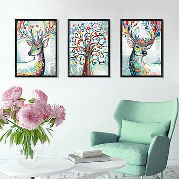 Deer Head Flowers Wall stickers For Living Room