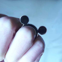 Handmade sterling silver and black resin Mickey mouse ring.